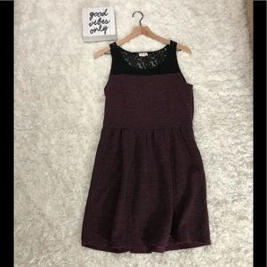 Madison jewels burgundy with black lace dress